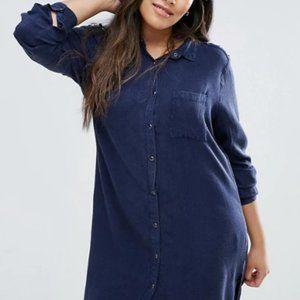 Collared Button-down Dress W/ Crisscross Shoulders